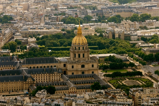 View of Les Invalides - where Napoleon is buried - from the Eiffel Tower