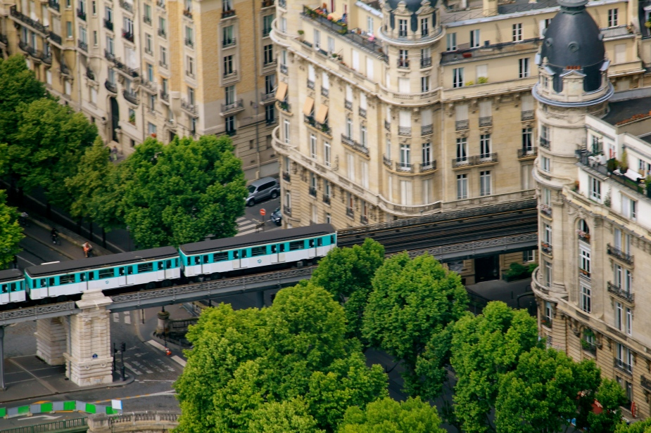 From the top of the Eiffel Tower, the Metro Train looks like a child's toy