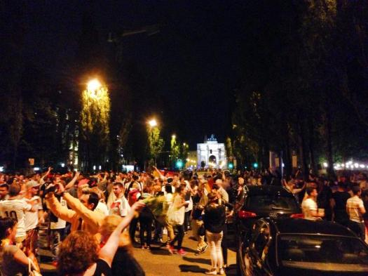Out on the streets celebrating the victory about 10 minutes after the end of the match....it got really crazy!!