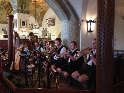 Inside the Hofbräuhaus hearing some folk Bavarian music.