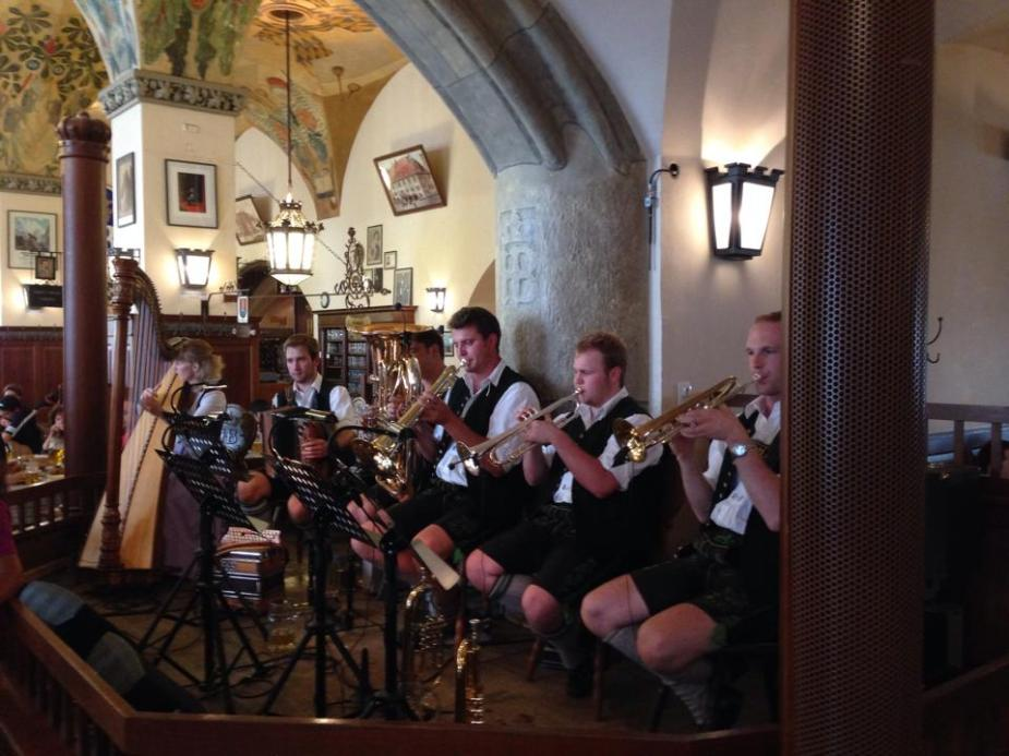 Inside the Hofbräuhaus hearing some folk Bavarian music.