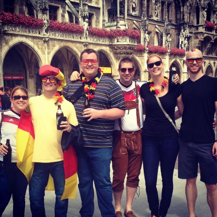 To show our spirit, we wore the German colors.  Heck, even Eric brought his lederhosen.  People would stop us, and ask to have their picture taken with us.  After pictures with 5 different people, we decided to move on, or at least start soliciting tips for pictures taken.