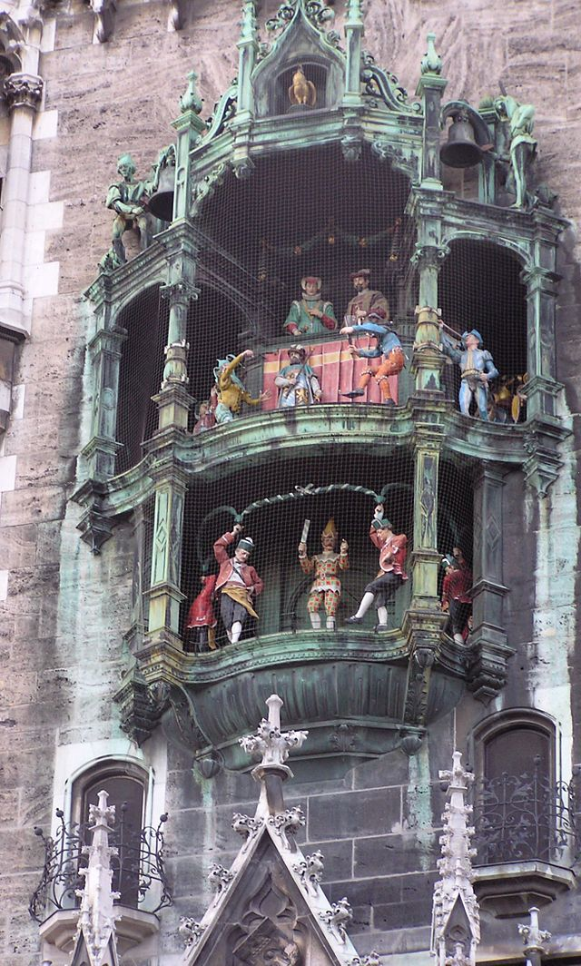 Close-up of the Glockenspiel at the Town Hall.  Every day at 11 a.m. (as well as 12 p.m. and 5 p.m. in summer) it chimes and re-enacts two stories from the 16th century to the amusement of mass crowds of tourists and locals. It consists of 43 bells and 32 life-sized figures.