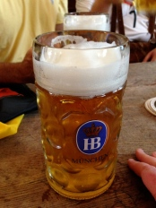 Liter of beer at the Hofbräuhaus...one of the oldest beer halls in Munich, built in 1589!