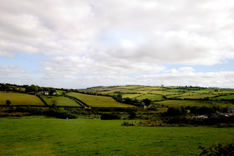 The beautiful countryside just outside of Cork.  On the horizon at the far right you can just make out the buildings of Apple.  Apple has its European HQ