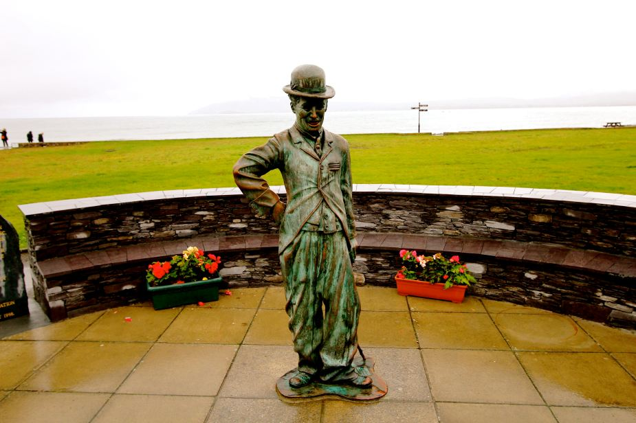A statue of Charlie Chaplin in Waterville, Ireland, where Chaplin lived for many years before his death