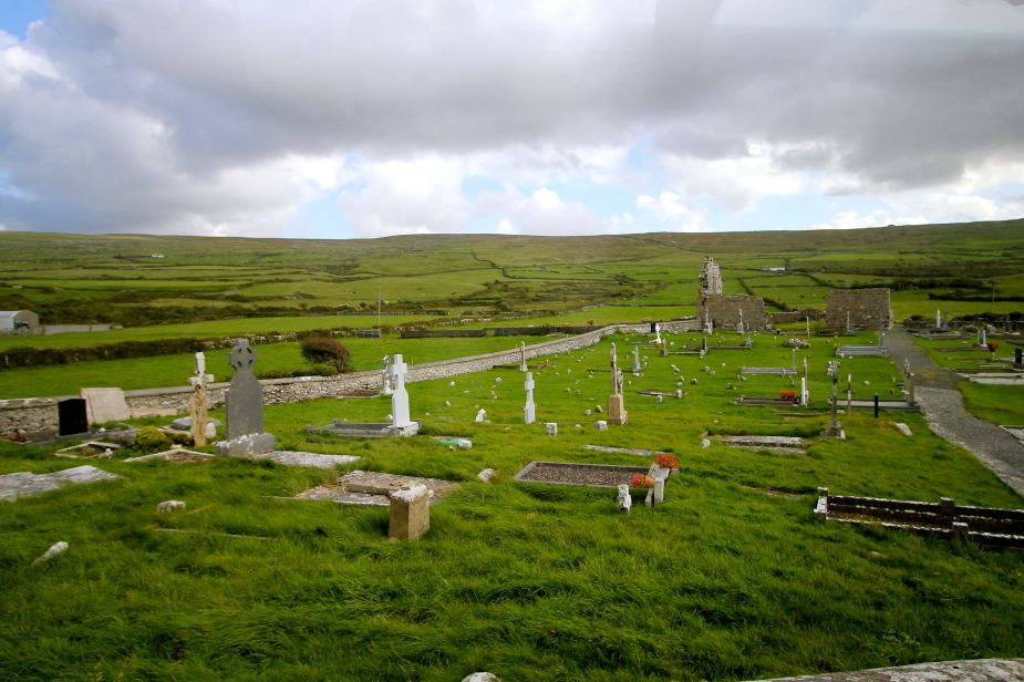 Cemetery with Celtic crosses....a combination of the pagan symbol of a circle and the Christian cross.