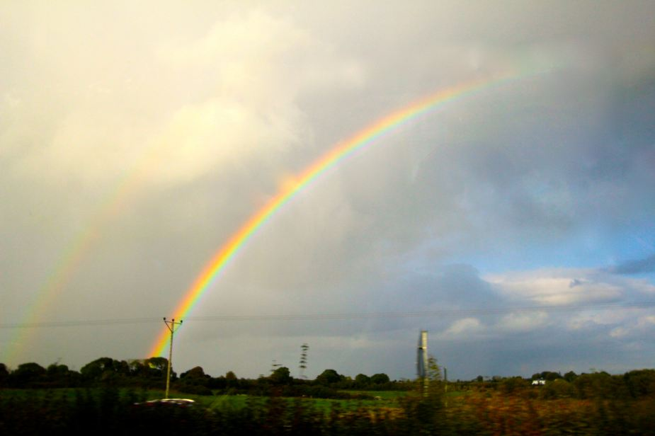 And, just as we started our day with a rainbow, we ended our day with a rainbow as we entered the City of Galway, where we would spend the night. —