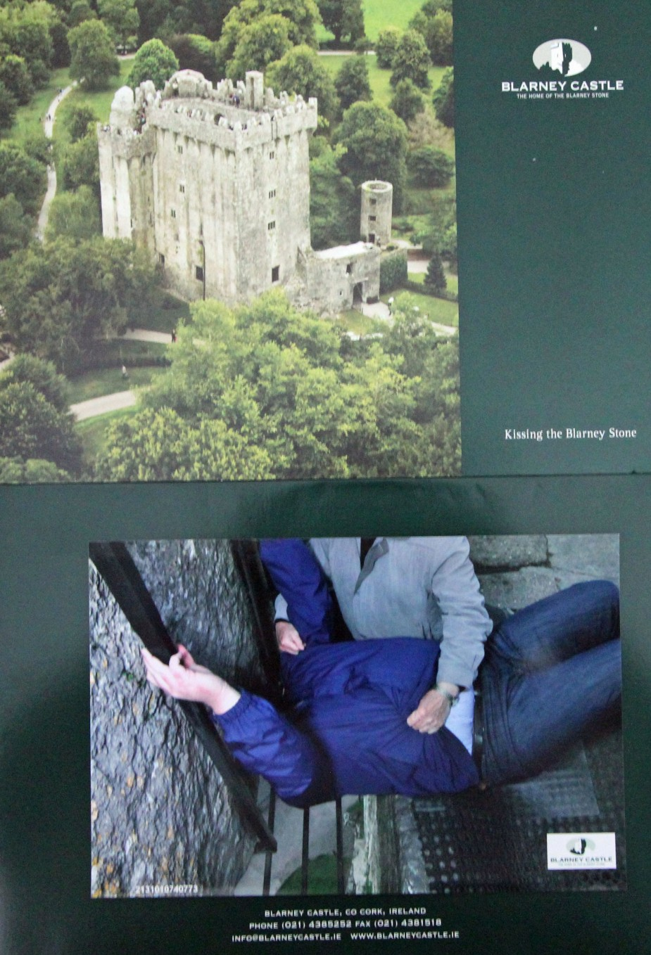"The ""tourist"" photo of me kissing the Blarney Stone. The attendant holds you, as you lean back to kiss the stone. He then wipes down the stone with an alcohol swab between kisses. To be honest, I did not have a clue how wide that gap was to reach out to to kiss the stone. The legend goes that those that kiss the stone will be blessed with the gift of gab of great eloquence. Before safety measures were put into place (i.e, the attendant, the grating below, and the hand rails), those kissing the stone had to be held by their legs as they reached out to kiss it."