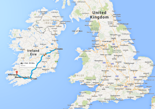 Our route traveled during the day of Thursday, October 2nd.  2 hour train from Dublin to Cork, and then a tour bus to Cobh and to Killarney