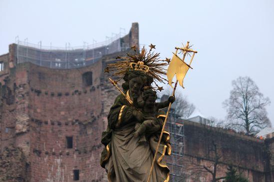 Statue of the Virgin Mary in the Kornmarkt (Corn Market) built in 1718.