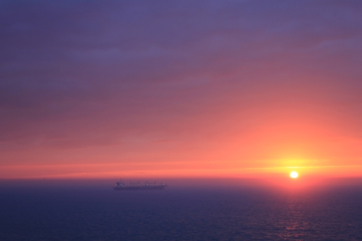 Sunrise over Casablanca from our ship