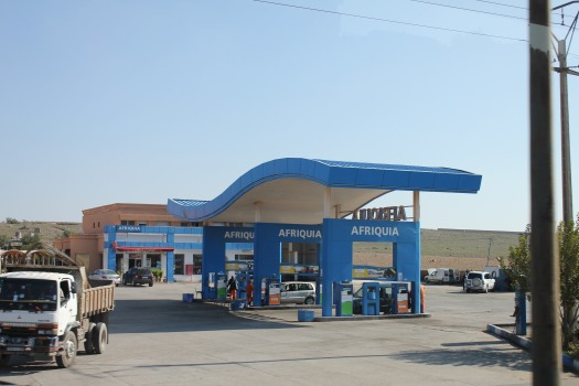 Similar gas stations like we would see in the US with shops inside