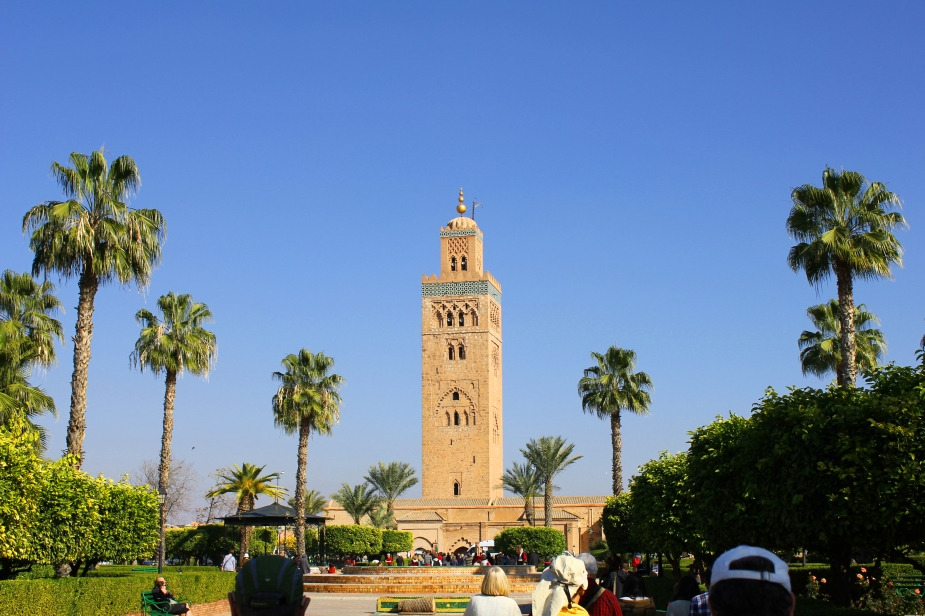 We toured the largest mosque in Marrakesh (Koutoubia Mosque) built in the 1100s. The minaret (prayer tower) is 253 feet high.