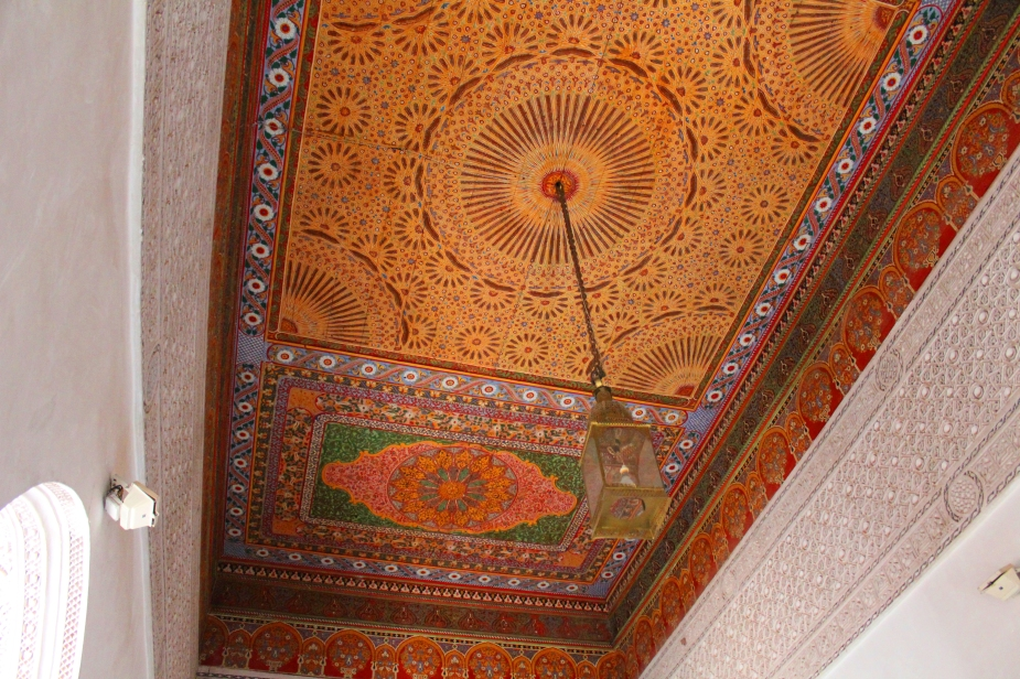 The mosaic tiles in the ceiling are works of art in that the pattern and color have so much detail in them.