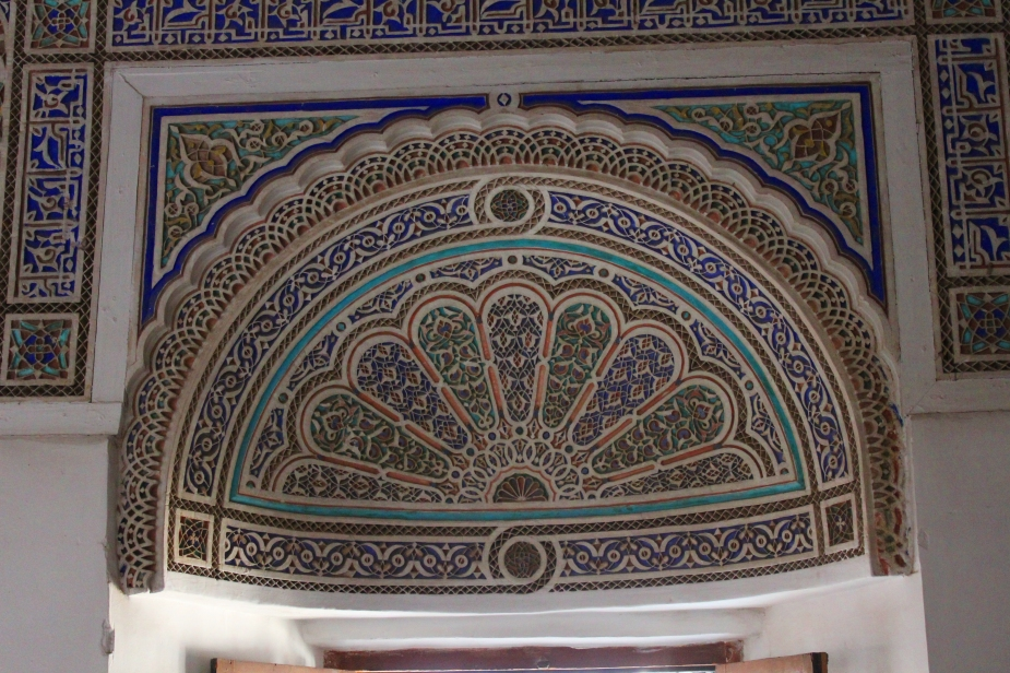 Most of the mosaic tiles were inlaid in the ceiling, but in some of the areas above the open-air windows, mosaics were placed as well to catch the light from the sun