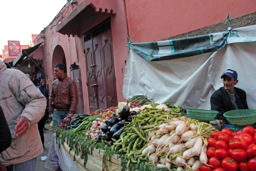 Walking the streets in the Medina, there are various stands where people are selling fresh fruits and vegatables.