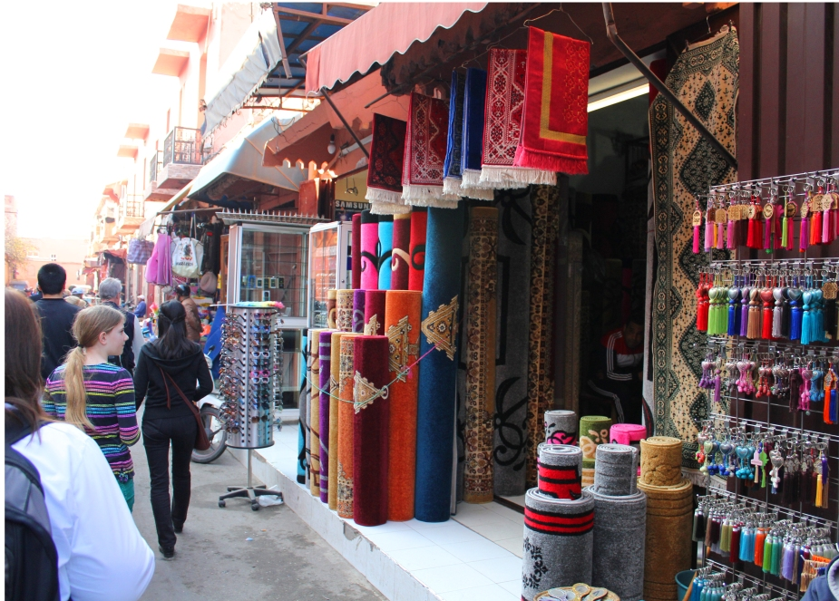 Or selling carpets. Beautiful Moroccan silk and wool carpets with very intricate patterns are everywhere.