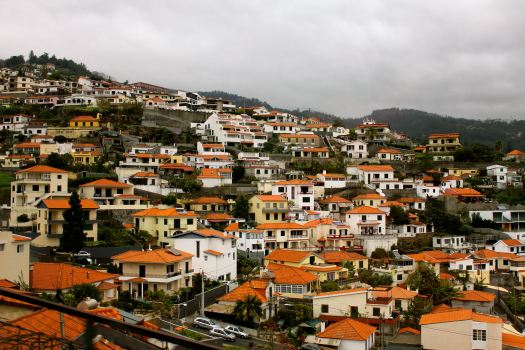 The homes on the island are mostly white-washed stone buildings with bright orange roofs.
