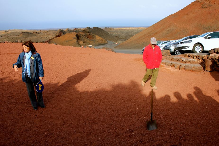 Here at the Timanfaya National Park, we watched demonstrations of how there currently is still volcanic activity happening on the island today. The shovel was used to pick up the rocks so that we could touch them. We could not hold them because they were too hot to hold for a long time.