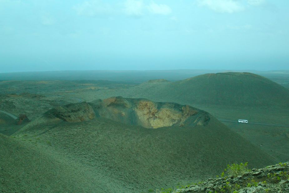 Large volcanic crater in the center