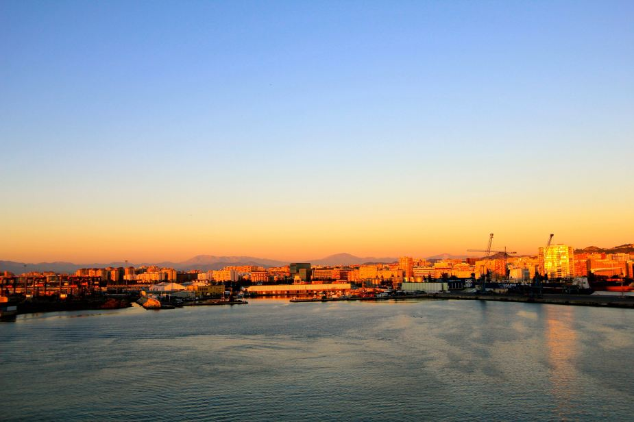 Sunrise over Malaga as we entered the port