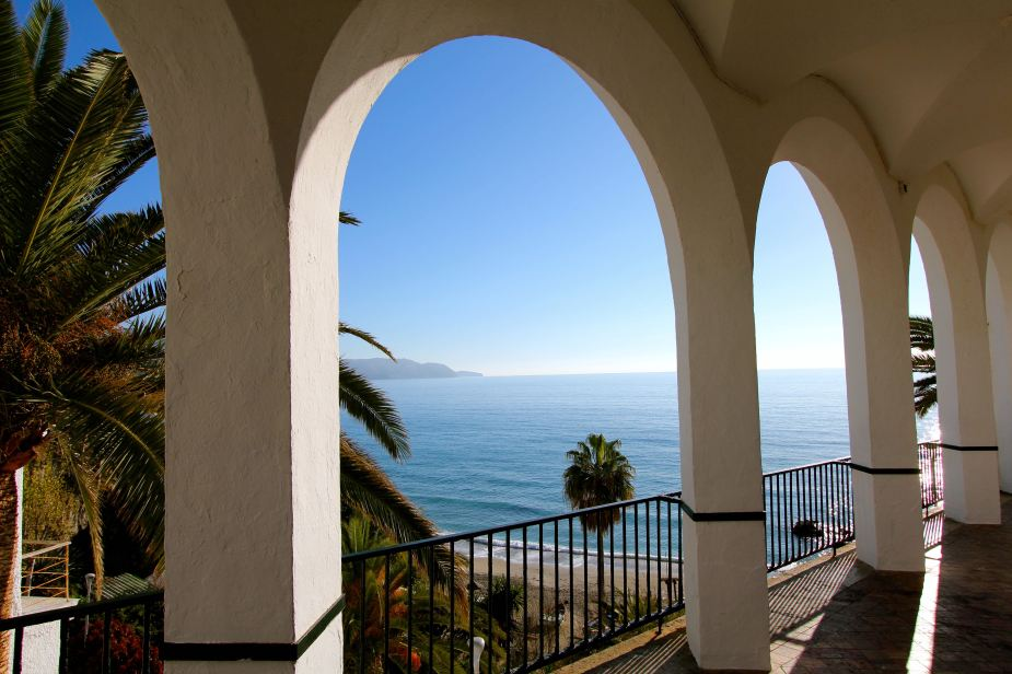 The arches provide the perfect frame for the Mediterranean Sea