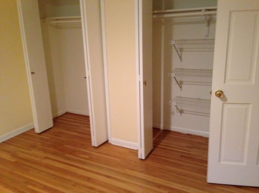 Example of our American home's closet space