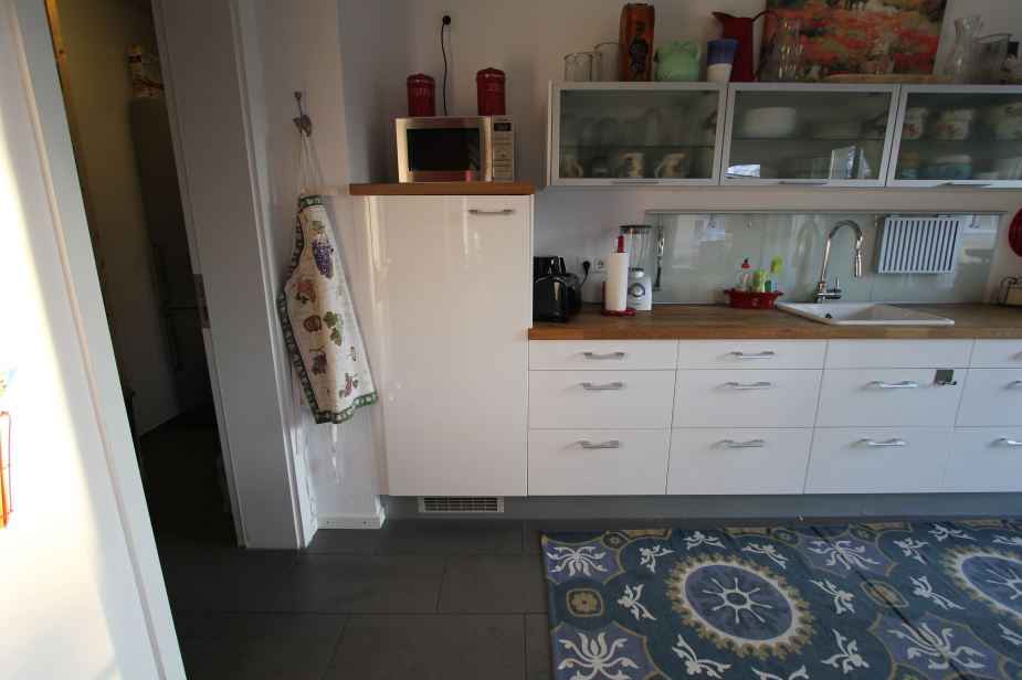 Our German kitchen with a typically sized refrigerator on the left.