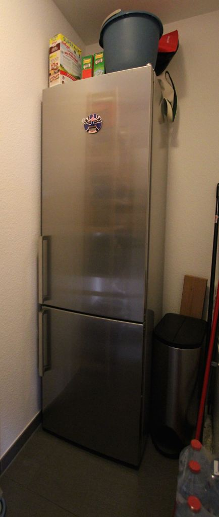 But, since we are Americans, we wanted a larger size refrigerator, which we placed inside the pantry area beside the kitchen.  TIP: measure dimensions of door openings, we did not and the refrigerator just barely fit inside the doorway.