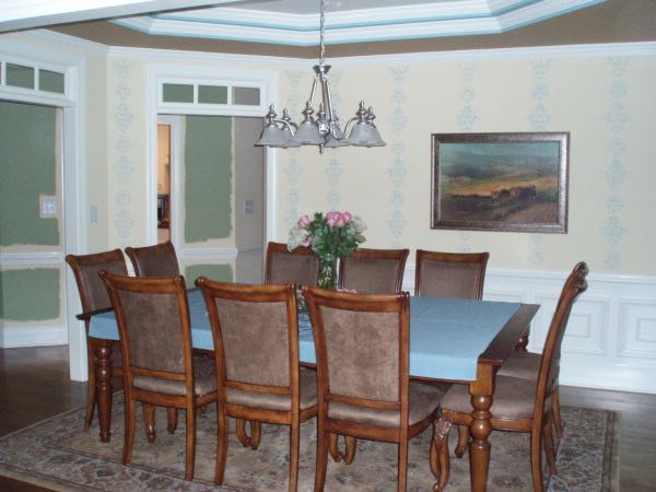 Our American Home With The Oversized Dining Room Table That Could Fit 10  Large Chairs.