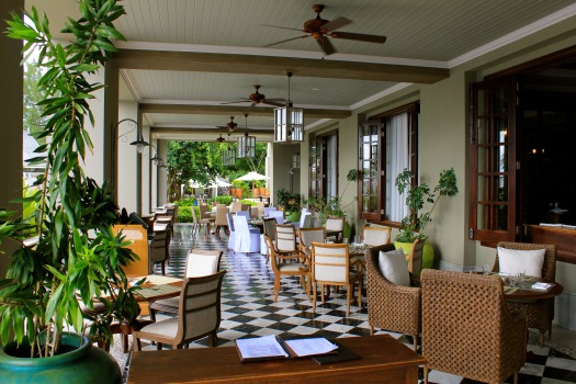 The area where breakfast is served each morning beside the main pool area.