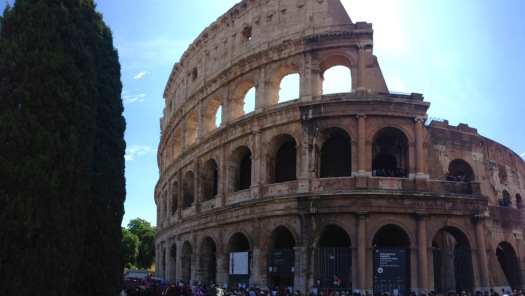 At the Roman Colosseum (Coliseum) built about 80AD....has to be one of the most iconic structures in the world.
