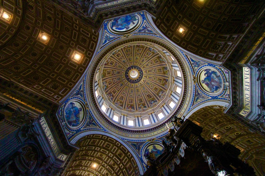 The height of the dome is high enough that the Statue of Liberty can fit inside!! The altar for the Pope is the large structure on the right.