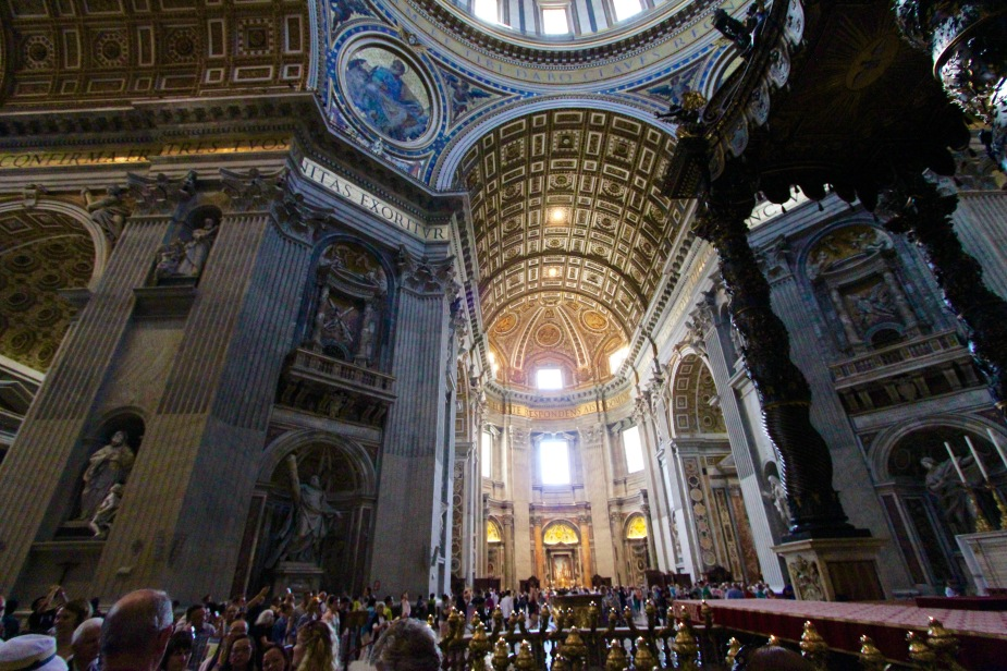 After touring the Sistine Chapel, we were then led into the St. Peter's Basilica, which is the largest Church in the world. The last time we visited Rome, we did not go inside...but this time, we did.