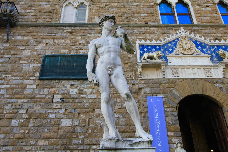 At the Palazzo Vecchio, which is a castle built by the ruling Medici family in the 13th Century. The building is now the Town Hall. Outside the entrance stands a replica of the Statue of David by Michelangelo.
