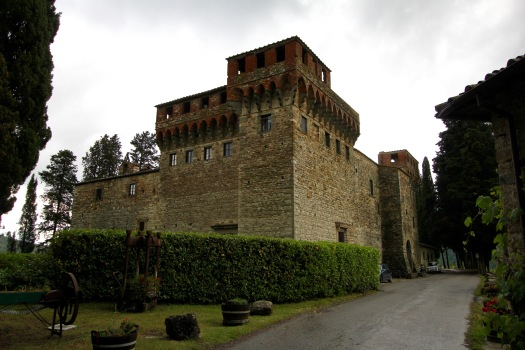 Castello del Trebbio. One of the largest castles in Italy, construction started in 1184 by the Pazzi family who were enemies to the powerful Medici family that ruled most of this area then. Eventually, the castle became abandoned and later purchased by a family in 1968, who has worked to turn it into a tourist destination with its views, hotel, and winery.