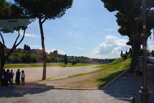 The Circus Maximus...the largest sports arena in Rome, where the famous chariot races were held. About 2,000 feet in length & 400 feet in width (almost a mile long oval track). Along the banks, there was room to hold about 150,000 people to watch. Built about 200 BC. Today, it is an open air park that still holds events. (Read where the Rolling Stones held a concert here for 73,000 people in 2014)