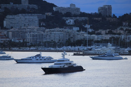 View of the many yachts as our ship approached Cannes.