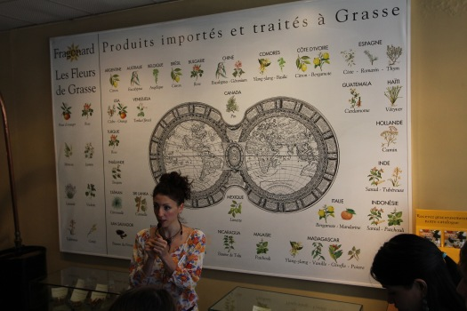 At the Fragonard Perfume Factory in Grasse, France, with our guide explaining how flowers & spices from around the world are used in the making of perfumes and soaps with some taking up to 250 different types just for one perfume scent.
