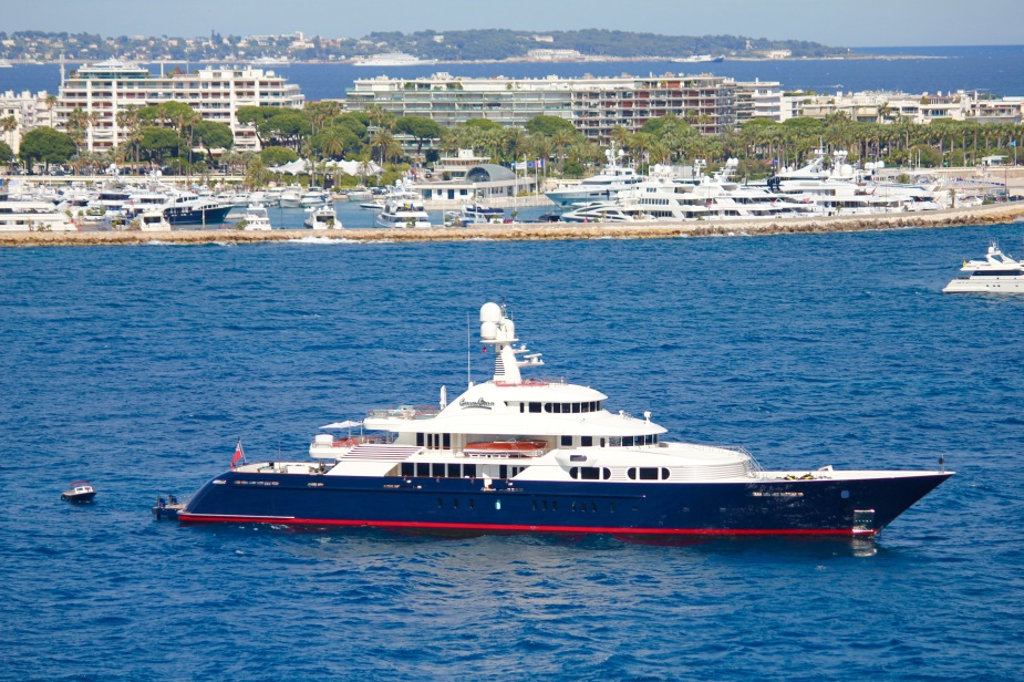 One of the larger yachts we saw in the bay at Cannes...so large that it had its own smaller boat docked on board and a heliport on it bow.