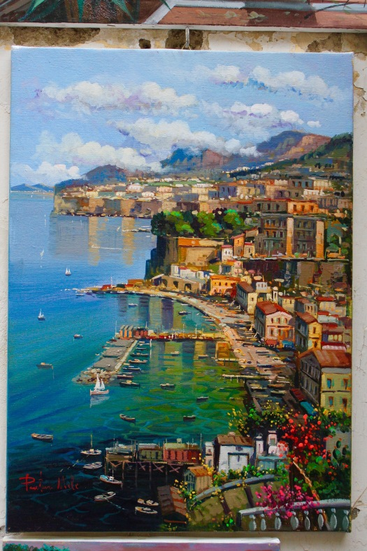 Sometimes when you are in a place, you do feel like you are literally looking into a painting. The view from Sorrento to the Mediterranean is one of those places. This is a picture of a painting I took, and it is very realistic to the real view!