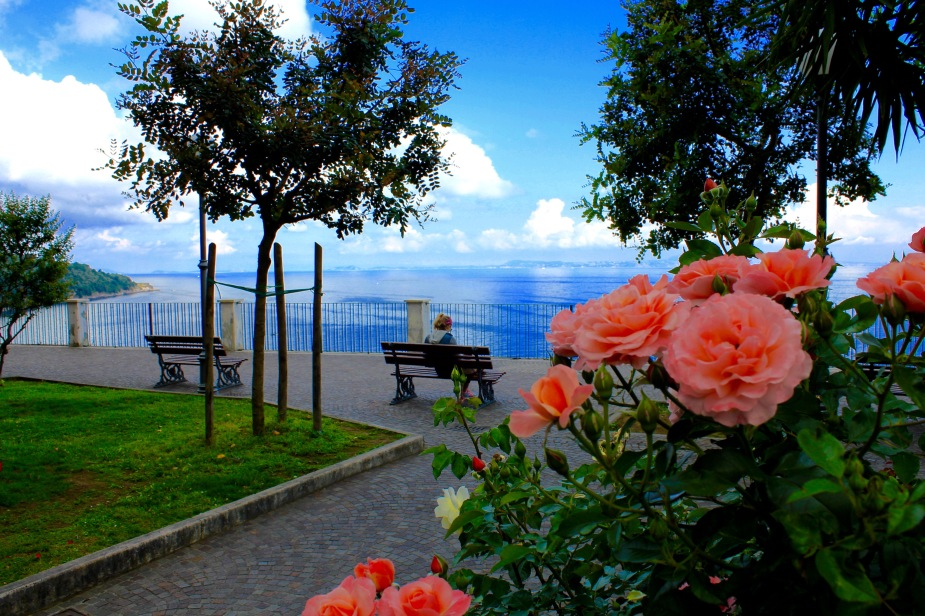 In my wonderings through Sorrento, I did not know how scenic the view would be to the Mediterranean Sea. I knew the direction of where the water was, and kept walking down various streets....then, around the corner I came upon this park, and I knew I was close to the view...