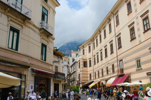 Streetside cafes in Amalfi