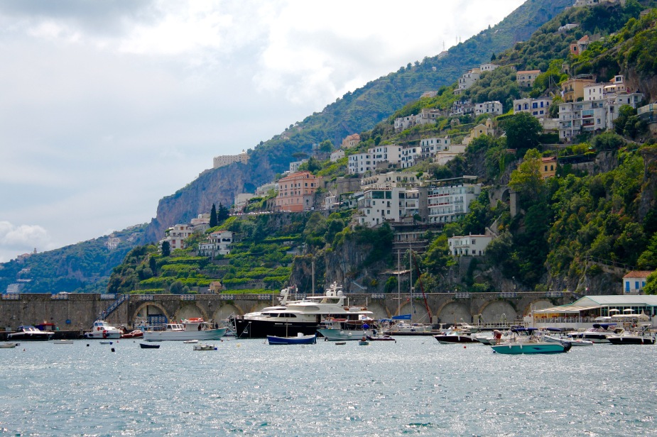 View from our boat leaving Amalfi
