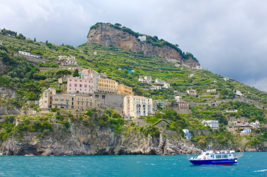 View from the boat along the Amalfi coastline to the city of Salerno