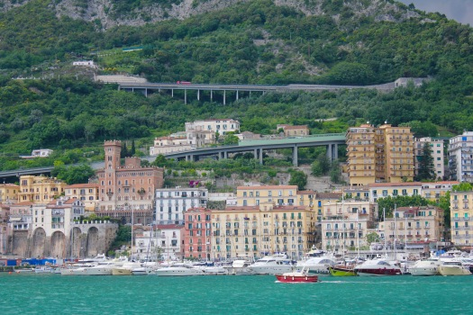 The view from the boat of the city of Salerno