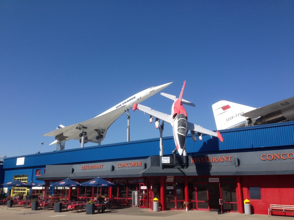 On top of the museum building are two Concorde Supersonic Jets: the original one donated by Air France in 2003, and a copy from Russia (the Tupolev Tu-144). The Air France jet was an actual jet flown in service, while the Russian version was never able to fly.
